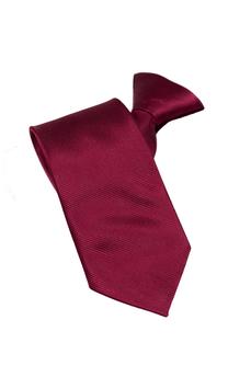 Een bordeauxrode en viscose stropdas met een koordstopper.