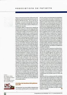 LMC France Correspondance Onco Hématologie oncologie leucemie Mina Daban association patient cancer 2016