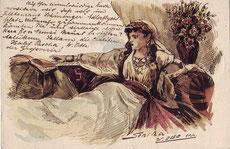 Postkarte mit Zeichnung von W. Otte an Richard Plöhn (erster Ehemann von Karl Mays zweiter Frau Klara) vom 13.11.1899: