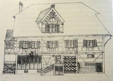 das ehemalige Wohnhaus der Familie Haffter, ein Krämerladen. 1838 abgebrannt. Es stand gegenüber des heutigen Haffterhauses.