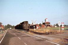 Foto aus dem Jahr 1975: hier werden wir gerade mit der Dampflok beliefert, Brikett, Düngemittel und auch Futter kamen bis dato per Bahn zu unserem Anschlußgleis direkt vor unserer Lagerhalle.