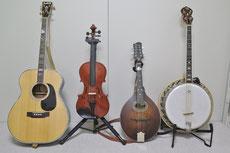 テナーギター、フィドル、マンドリン、テナーバンジョー