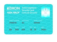 Sicherheitskarte Schliessanlagen