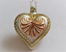 Christbaumkugel aus Glas Herz creme-gold-bronze 3,90 €