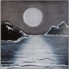 Moderne Acrylmalerei im großen Format, ein Leinwandbild mit Mond und Meer in Schwarz / Weiß