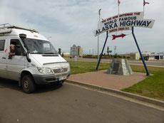 In Dawson Creek beginnt der Alaska Highway, für uns endet er hier.