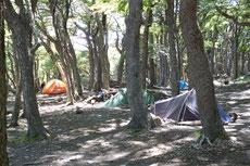 Campamento Poincenot, ein Zeltplatz in den Bergen ...
