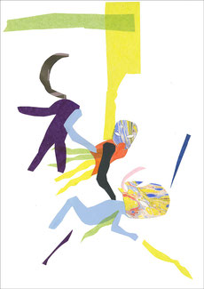 Tres Luchadores, 2013, Scherenschnitt, 29,7 x 42 cm