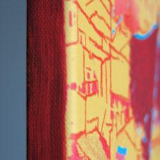 Leinwand Museums Rahmung rot