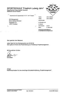 Elite Sportschule Potsdam Schulleiter Hr. Ziemer (Seite 1)