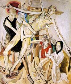 Max BECKMANN en su descendimiento de 1917 reduce a Dios en esqueleto dolorosamente alargado en el traverso de la cruz con brazos longilíneos que remite al Entierro del Sr de Orgaz cretense.