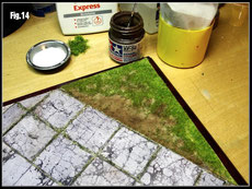 Spread some sand in the weeded areas. Use your airbrush to add more depth.