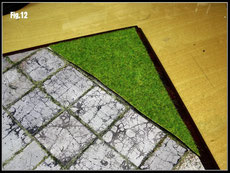 Roughly cut the grass mat to shape
