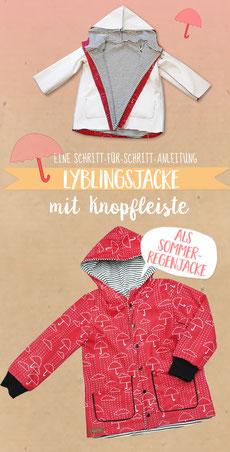 Lyblingsjacke nähen: Lybstes Regenjacke mit Knopfleiste für Pinterest speichern