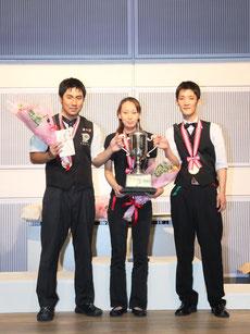 アマナイン表彰。左からA級優勝:中野選手、女子級優勝:米田選手、B級優勝:粟野選手