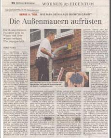 Thema Fassadendämmung im Hamburger Abendblatt