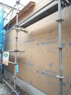 耐震用面材ダイライトの施工1
