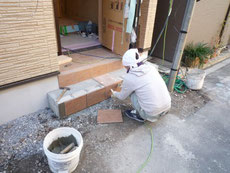 玄関タイル施工2