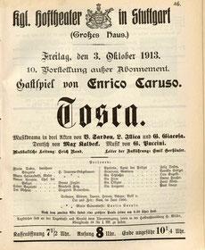 Stuttgarter Programmzettel vom 3. Oktober 1913 mit Gastspiel von Enrico Caruso, Hedy als Tosca (Staatsarchiv Ludwigsburg)