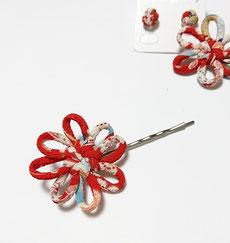 ちりめん和風ブローチからし花結び飾り結びメドゥプ