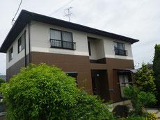 熊本市M様家外壁塗装工事。ブラウンと薄ピンククリームカラー