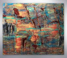 abstraktes Bild, Blau, Weiß, Gold, gespachtelt, abstrakte Kunst, Gemälde Original, Unikat, gespachtelt,