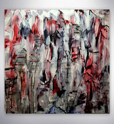 Modernes Bild, Strukturen, gespachtelt, Silber, Rot , Blau Struktur Bild, Original,Unikat, Moderne Malerei, abstrakte Kunst, Galerie,