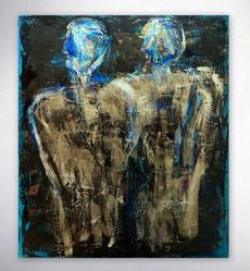 Abstrakte Gesichter, figurative Gemälde, Gold, Blau, gespachtelt, Schwarz, Gelb, Struktur Bild, Original,Unikat, Moderne Malerei, abstrakte Kunst, Galerie,