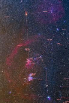 Constelación de Orión anotada
