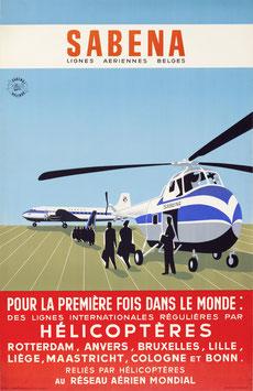 Original vintage SABENA helicopter poster