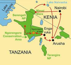Karte Reise Kenia Campingsafari 12 Tage von Nairobi nach Arusha