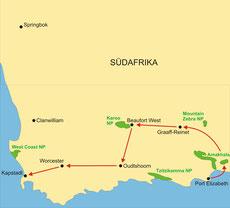 Karte Südafrika Privatreise 9 Tage - Gardenroute und Kapstadt
