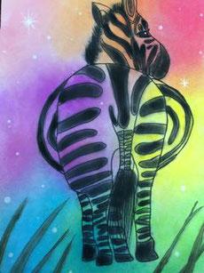 絵画 / 虹色のしまうま