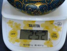 九谷焼通販 おしゃれな急須 茶器 萬古焼 小 青粒+金花詰(傑作)裏絵  重量の図