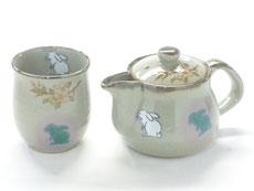 九谷焼『お茶の間2点セット』小 白兎しだれ桜『中裏絵』