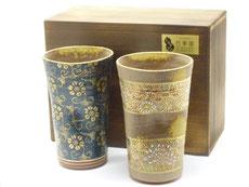 九谷焼『ペアビアカップ』青粒&帯花詰(木箱入り)