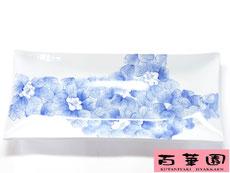 九谷焼 長皿 藍椿 磁器