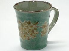 九谷焼『マグカップ』しだれ桜緑塗り『裏絵』