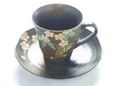 九谷焼通販 おしゃれ ギフト カップ&ソーサー コーヒカップ コーヒー碗  銀桜