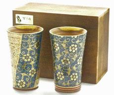九谷焼 ペアビアカップ 青粒&帯花詰 木箱入り