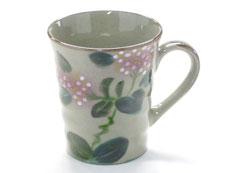 九谷焼『マグカップ』がく紫陽花ピンク&ピンク『裏絵』