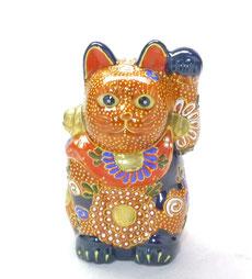 九谷焼 招き猫 デコ盛4号(千客万来)  焼き塗装木箱台入り