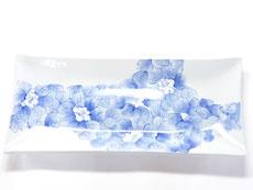 九谷焼 長皿 藍椿