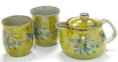 九谷焼『お茶の間3点セット』大 黄塗り金糸梅に鳥『裏絵』