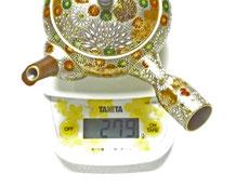 九谷焼通販 おしゃれな急須 茶器 萬古焼 小 加賀のお殿様・お姫様気分(金花詰) 最高版 重量の図