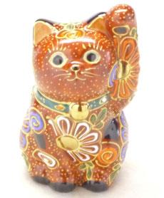 九谷焼『招き猫』3.5号 ピンク盛 金運