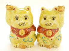 九谷焼『チビペア招き猫』黄色唐草