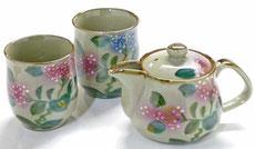 九谷焼『お茶の間3点セット』小 がく紫陽花『裏絵』