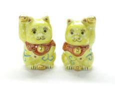 九谷焼 ペアチビ招き猫 黄色唐草