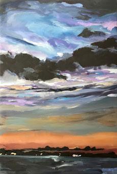 Sonnenuntergang, Polarlicht, Ostsee, Binnensee, Abendstimmung, Kunst, Malerei,